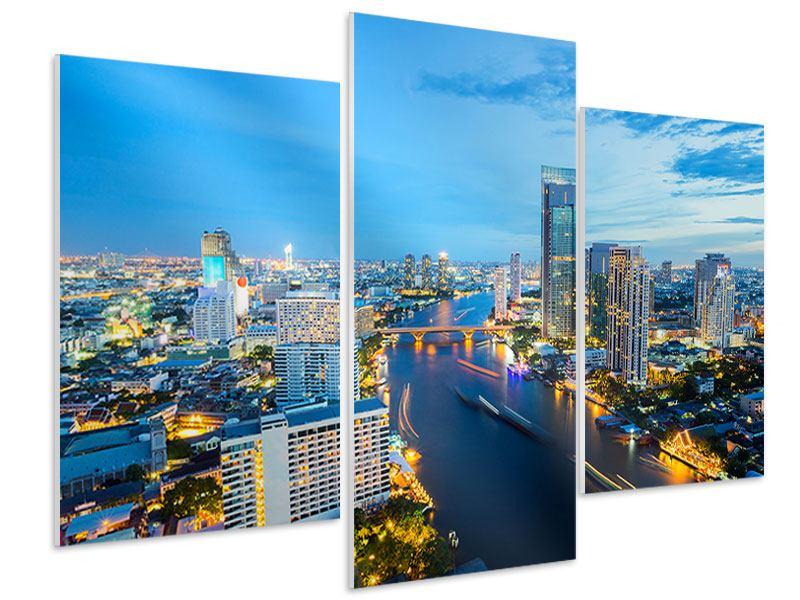 Hartschaumbild 3-teilig modern Skyline Bangkok in der Abenddämmerung