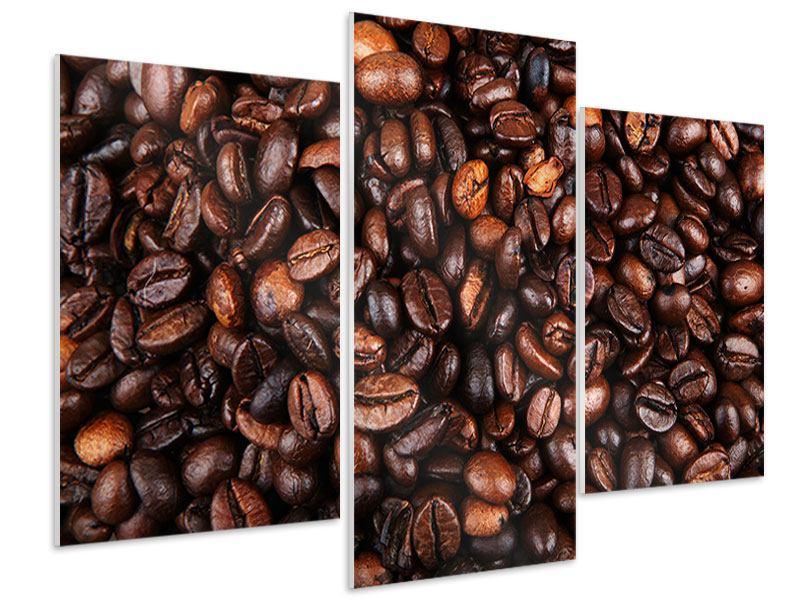 Hartschaumbild 3-teilig modern Kaffeebohnen in XXL