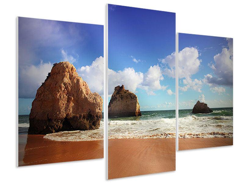 Hartschaumbild 3-teilig modern Strandgedanken
