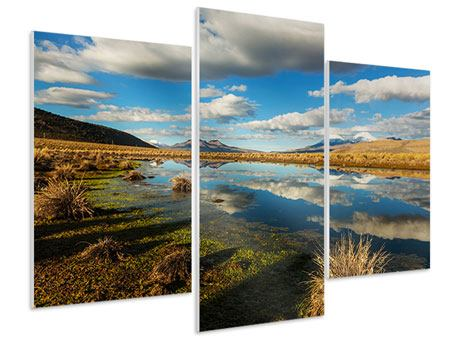 Hartschaumbild 3-teilig modern Wasserspiegelung am See