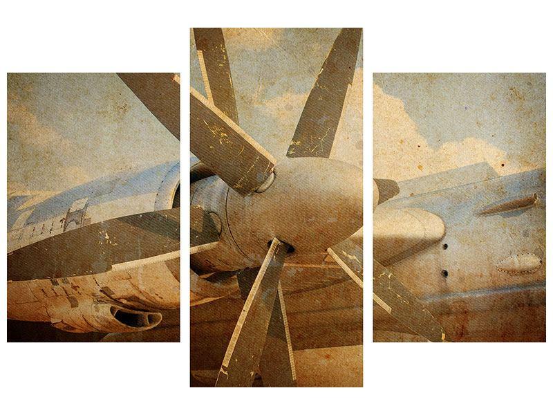 Hartschaumbild 3-teilig modern Propellerflugzeug im Grungestil