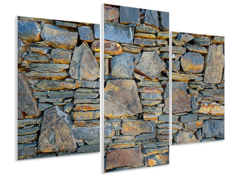 Hartschaumbild 3-teilig modern Natürliche Steinmauer