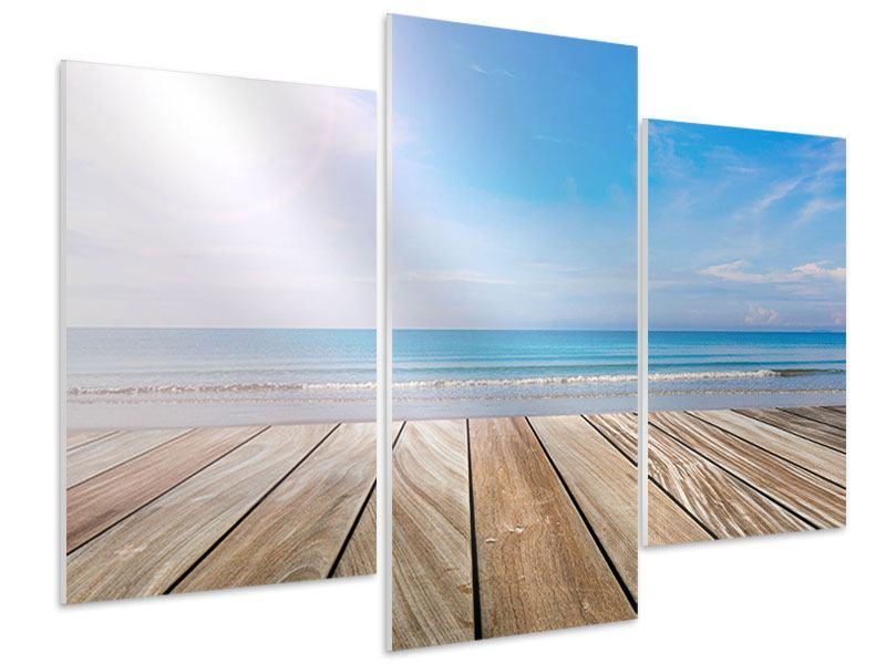 Hartschaumbild 3-teilig modern Das schöne Strandhaus