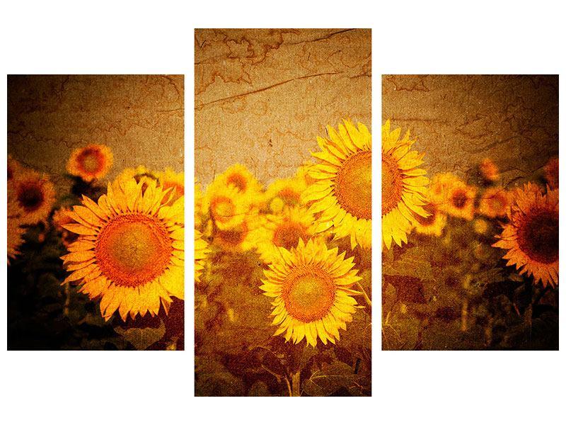 Hartschaumbild 3-teilig modern Retro-Sonnenblumen