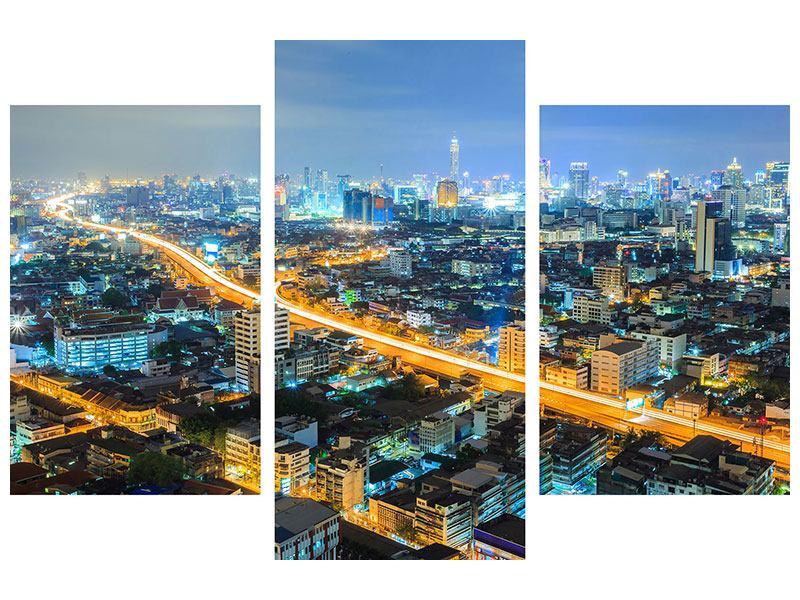 Hartschaumbild 3-teilig modern Skyline Bangkok im Fieber der Nacht