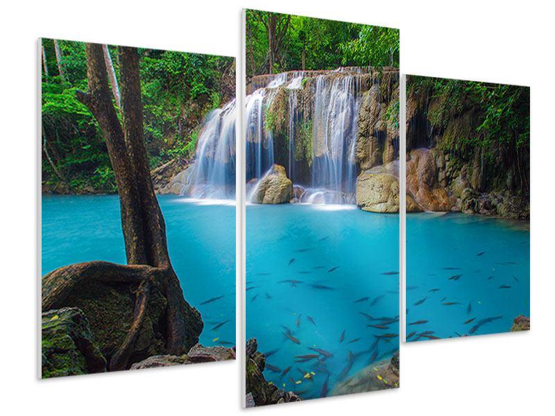 Hartschaumbild 3-teilig modern Naturerlebnis Wasserfall