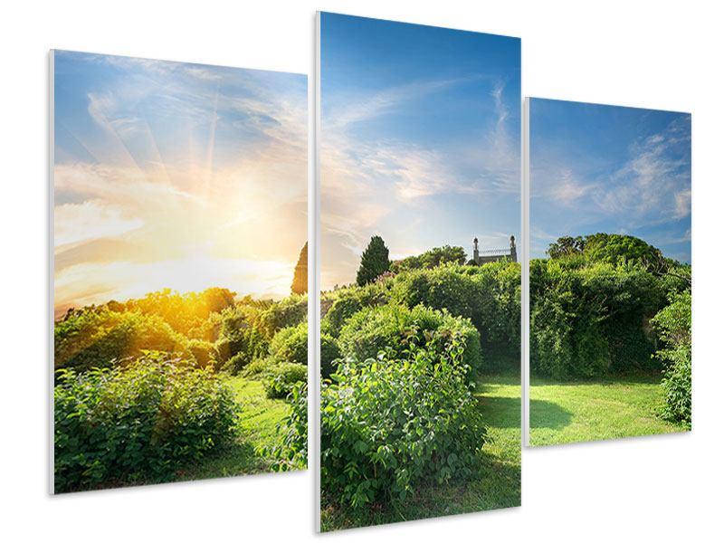Hartschaumbild 3-teilig modern Sonnenaufgang im Park