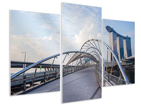 Hartschaumbild 3-teilig modern Helix-Brücke