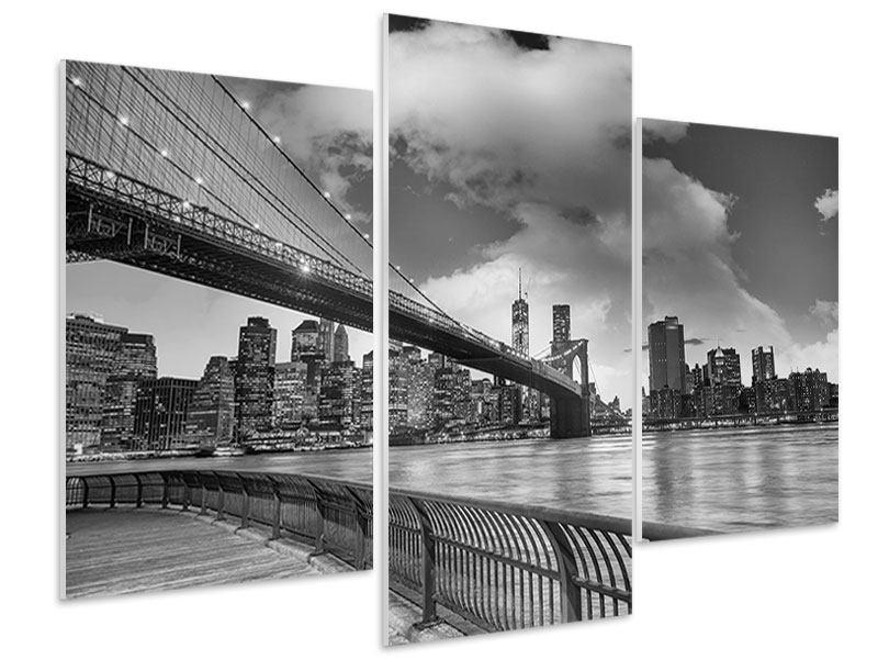 Hartschaumbild 3-teilig modern Skyline Schwarzweissfotografie Brooklyn Bridge NY