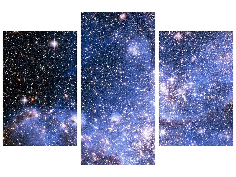 Hartschaumbild 3-teilig modern Sternenhimmel