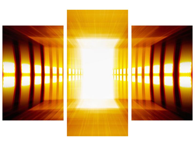 Hartschaumbild 3-teilig modern Abstrakter Goldener Raum
