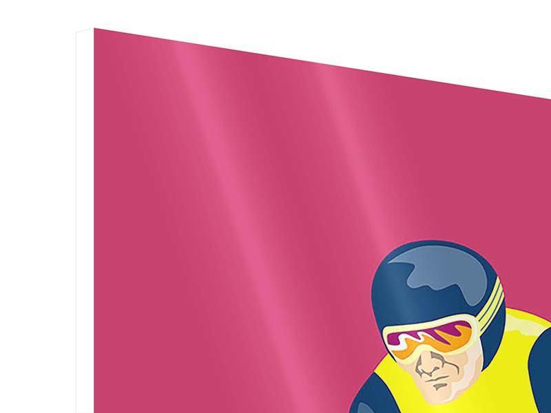 Hartschaumbild 3-teilig modern Retro-Skifahrer