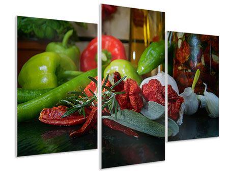 Hartschaumbild 3-teilig modern Mediterranes Gemüse