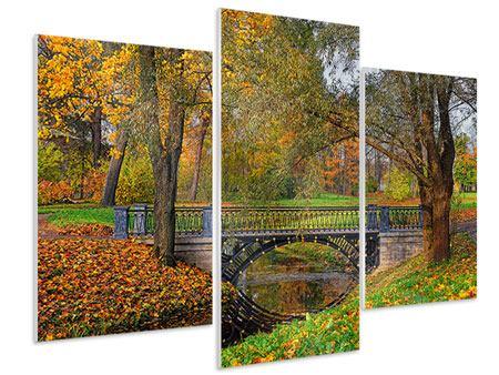 Hartschaumbild 3-teilig modern Romantischer Park