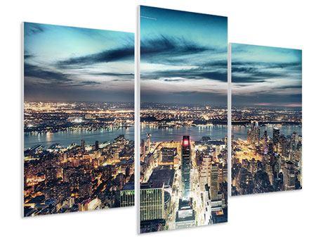 Hartschaumbild 3-teilig modern Skyline Manhattan Citylights