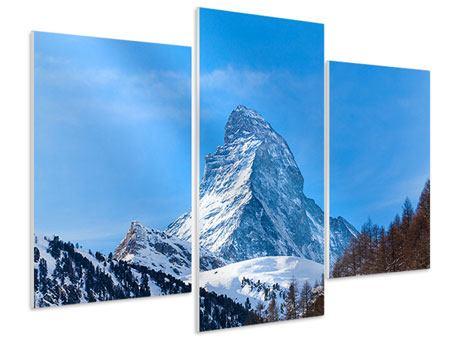 Hartschaumbild 3-teilig modern Das majestätische Matterhorn