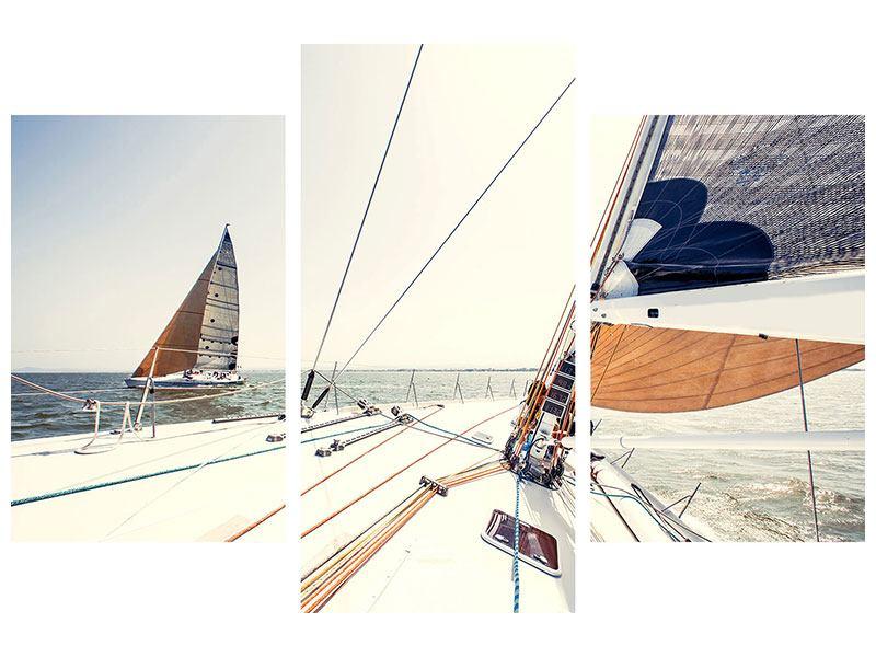 Hartschaumbild 3-teilig modern Segelyacht