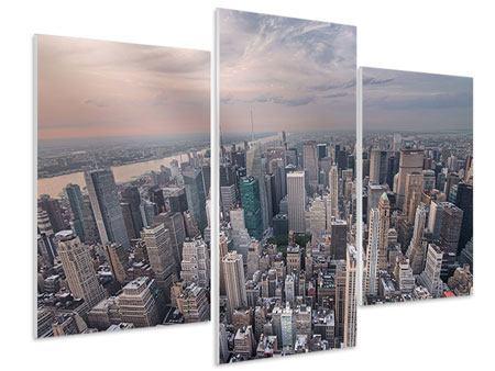 Hartschaumbild 3-teilig modern Skyline Blick über Manhattan