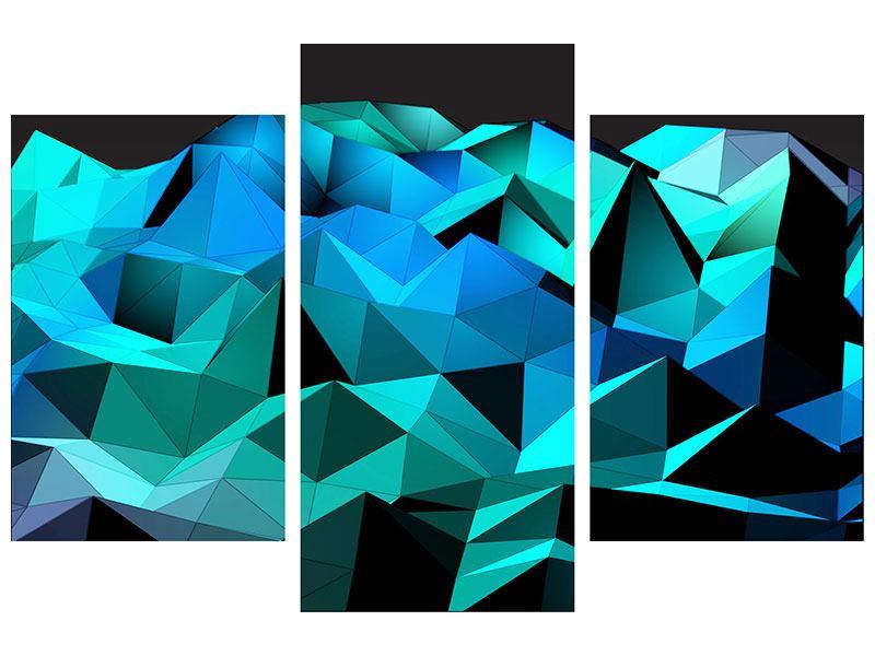 Hartschaumbild 3-teilig modern 3D-Diamonds