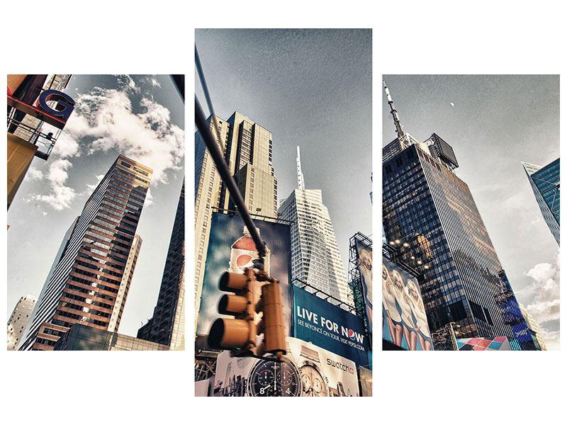 Hartschaumbild 3-teilig modern Times Square