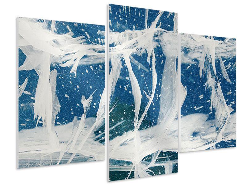 Hartschaumbild 3-teilig modern Eiskristalle