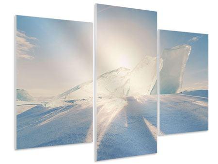Hartschaumbild 3-teilig modern Eislandschaft