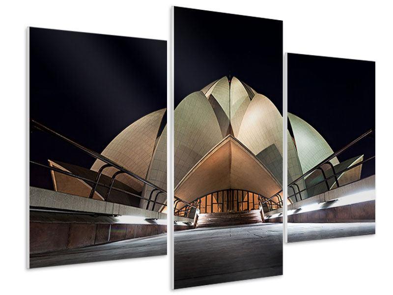 Hartschaumbild 3-teilig modern Der Lotus-Tempel