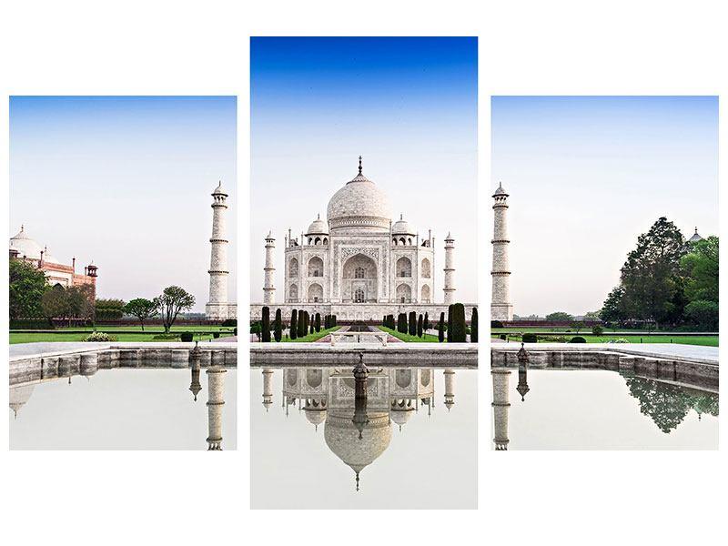 Hartschaumbild 3-teilig modern Taj Mahal