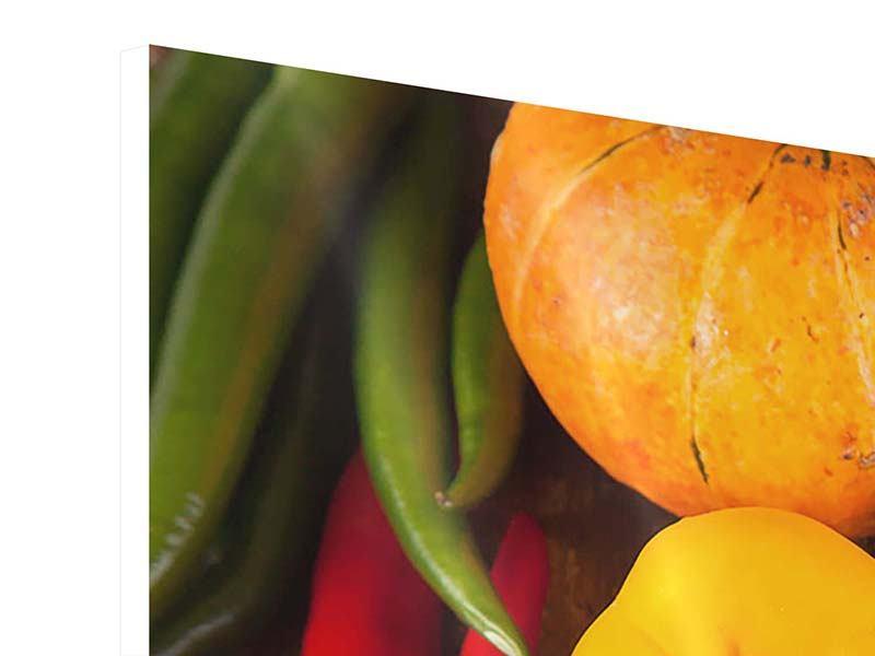 Hartschaumbild 3-teilig modern Gemüsefrische