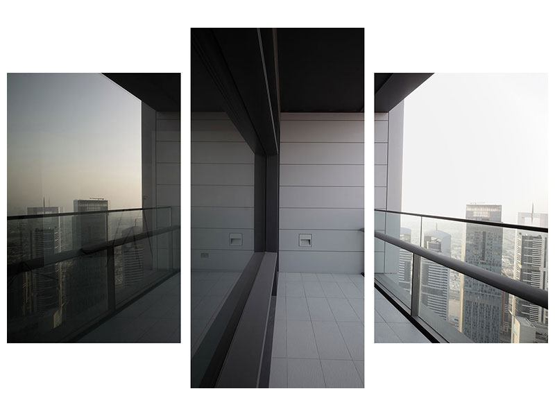 Hartschaumbild 3-teilig modern Balkon in Dubai