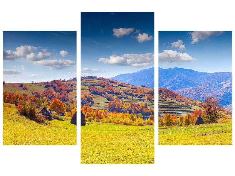 Hartschaumbild 3-teilig modern Herbstliche Berglandschaft