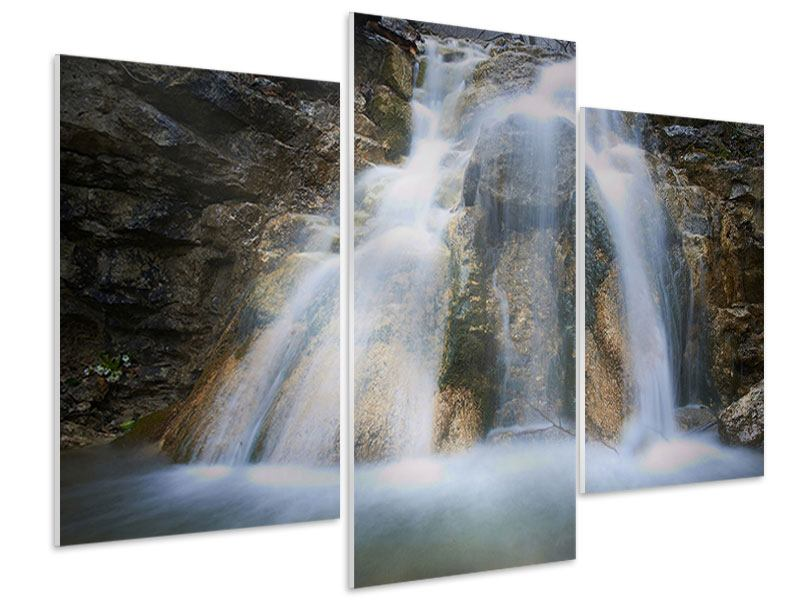 Hartschaumbild 3-teilig modern Imposanter Wasserfall