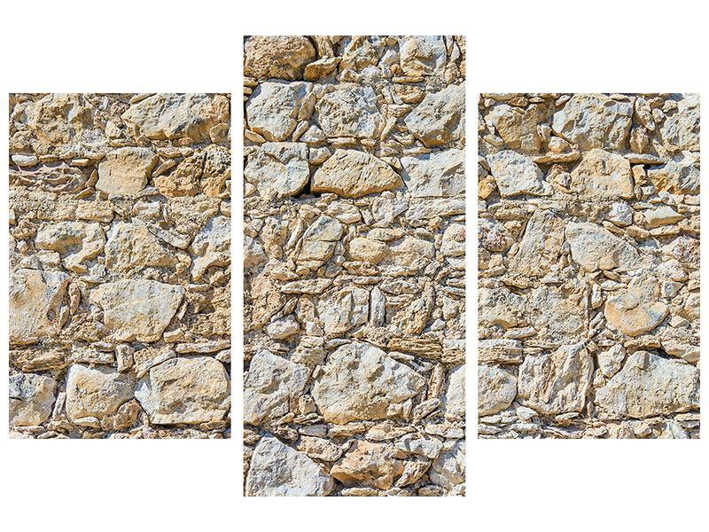 Hartschaumbild 3-teilig modern Sandsteinmauer
