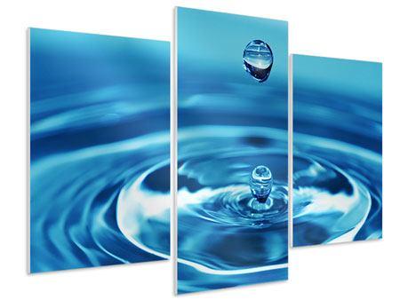 Hartschaumbild 3-teilig modern Der Wassertropfen