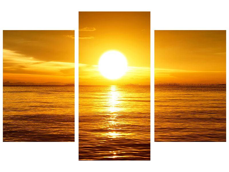 Hartschaumbild 3-teilig modern Traumhafter Sonnenuntergang