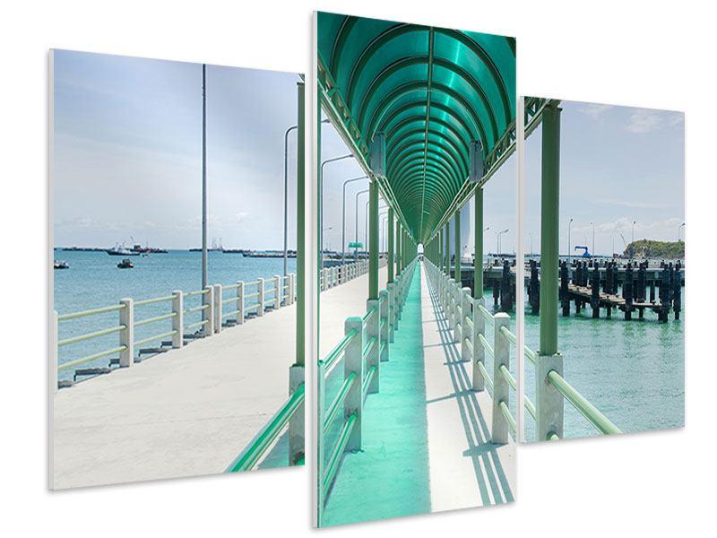Hartschaumbild 3-teilig modern Die Brücke am Meer