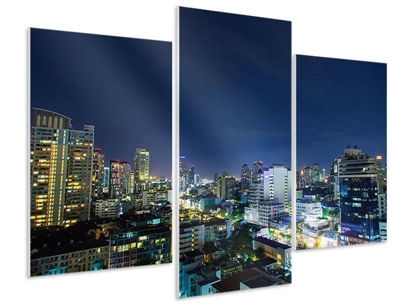 Hartschaumbild 3-teilig modern Skyline Nachts in Bangkok