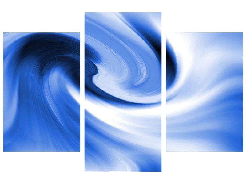 Hartschaumbild 3-teilig modern Abstrakte blaue Welle