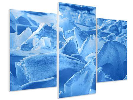 Hartschaumbild 3-teilig modern Eis des Baikalsees