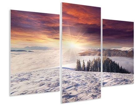 Hartschaumbild 3-teilig modern Sonnenaufgang Winterlandschaft