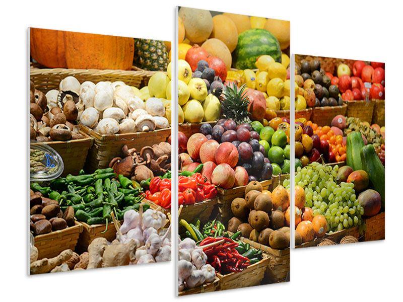 Hartschaumbild 3-teilig modern Obstmarkt