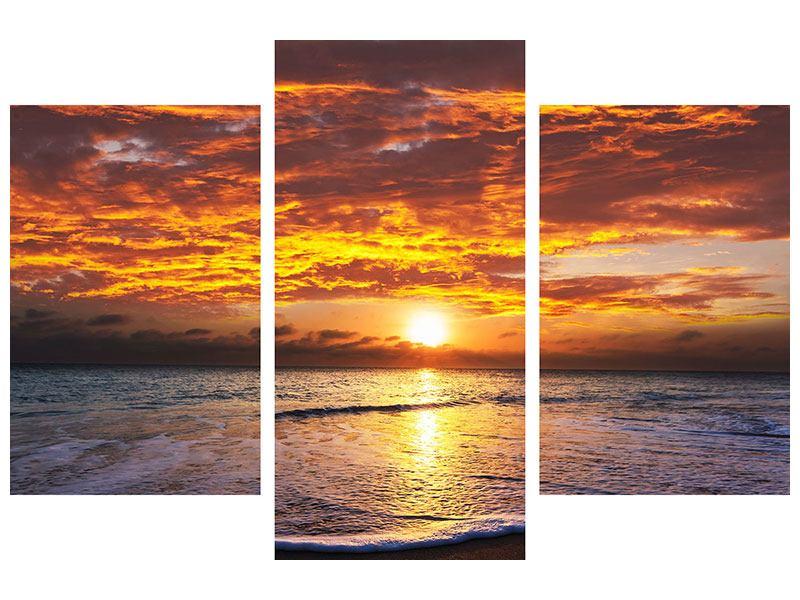 Hartschaumbild 3-teilig modern Entspannung am Meer