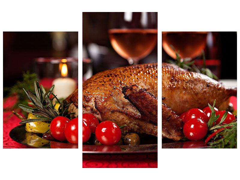 Hartschaumbild 3-teilig modern Köstliches Geflügel