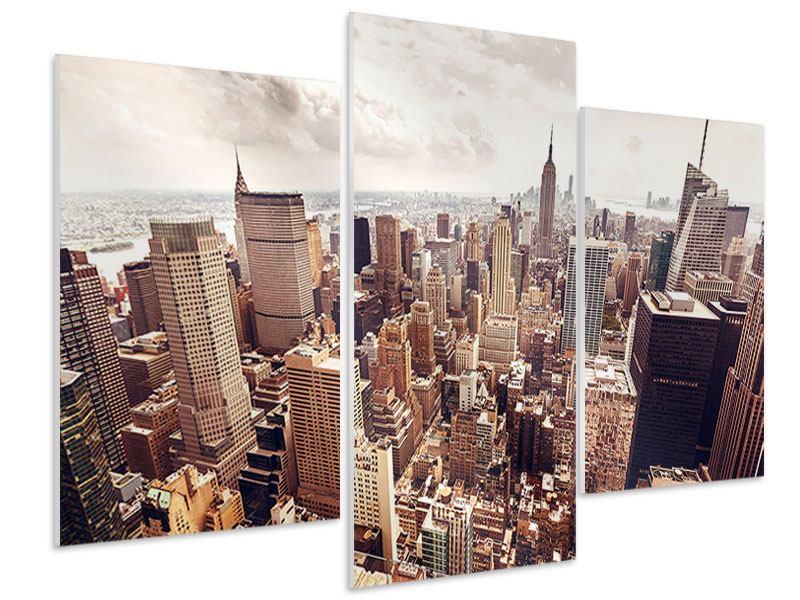 Hartschaumbild 3-teilig modern Skyline Über den Dächern Manhattans