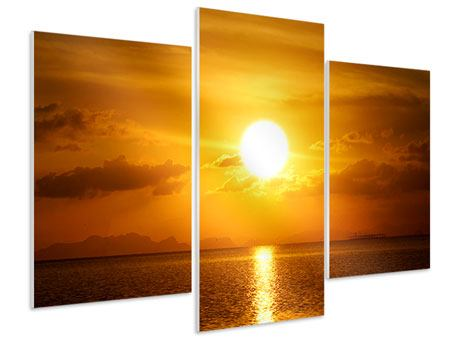 Hartschaumbild 3-teilig modern Sonnenuntergang See