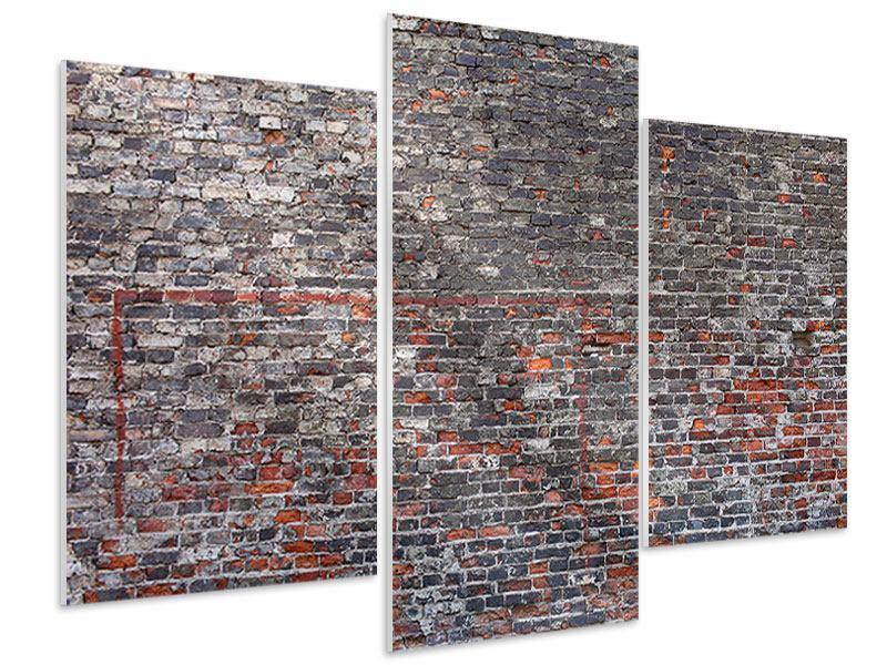 Hartschaumbild 3-teilig modern Alte Backsteine