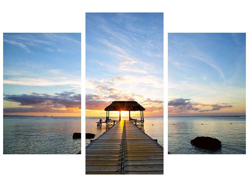 Hartschaumbild 3-teilig modern Romantik auf Mauritius