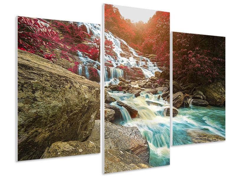 Hartschaumbild 3-teilig modern Exotischer Wasserfall