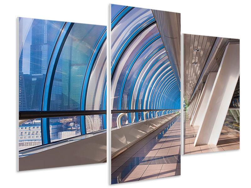 Hartschaumbild 3-teilig modern Hypermoderne Brücke
