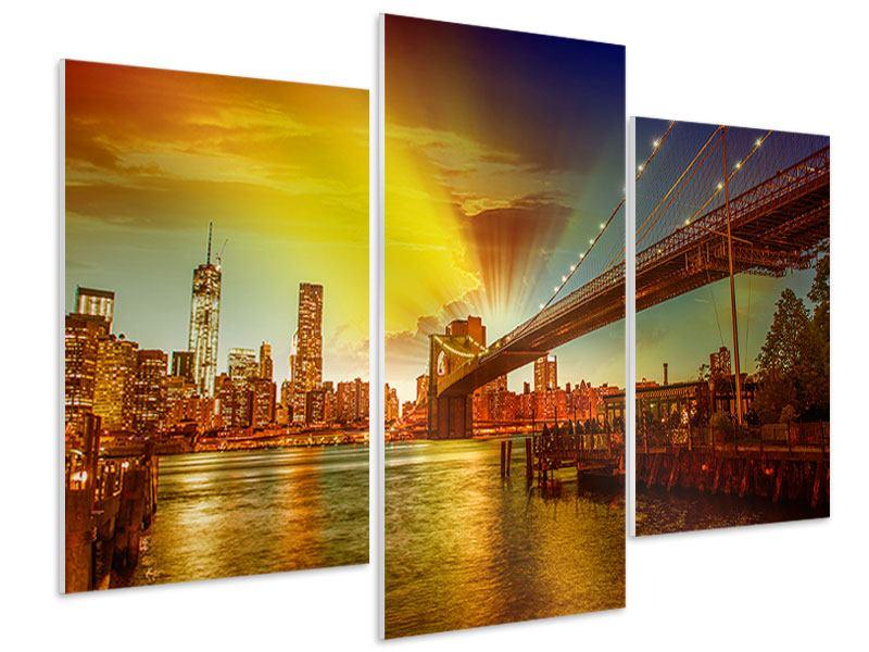 Hartschaumbild 3-teilig modern Skyline Brooklyn Bridge NY